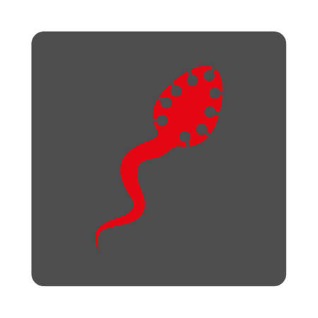 infectious: Infectious Microbe vector icon. Style is flat rounded square silver button with red symbol, white background. Illustration