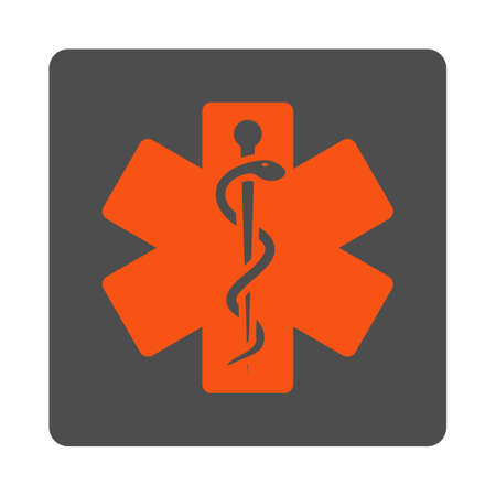 star of life: Life Star vector icon. Style is flat rounded square silver button with red symbol, white background.