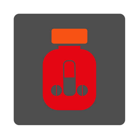 Guy Medicine vector icon. Style is flat rounded square silver button with red symbol, white background.