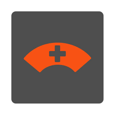 visor: Medical Visor vector icon. Style is flat rounded square silver button with red symbol, white background. Illustration