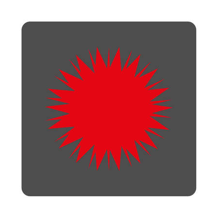 spore: Microbe Spore vector icon. Style is flat rounded square silver button with red symbol, white background. Illustration