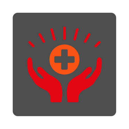 medical distribution: Medical Prosperity vector icon. Style is flat rounded square silver button with red symbol, white background.