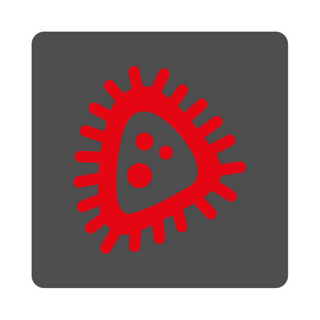 parasite: Micro Parasite vector icon. Style is flat rounded square silver button with red symbol, white background.
