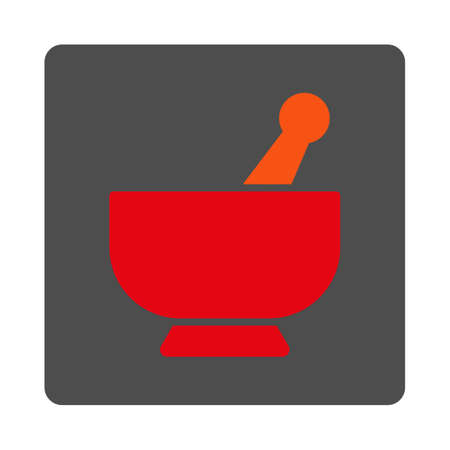 Mortar vector icon. Style is flat rounded square silver button with red symbol, white background.