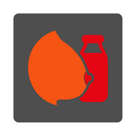 Mother Milk vector icon. Style is flat rounded square silver button with red symbol, white background.