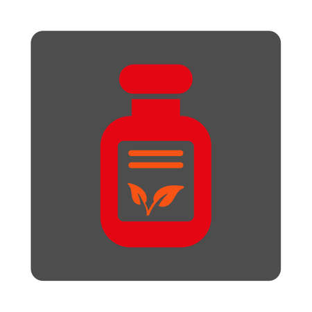 phial: Natural Drugs vector icon. Style is flat rounded square silver button with red symbol, white background.