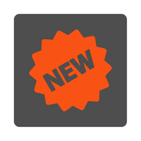 newest: New Tag vector icon. Style is flat rounded square silver button with red symbol, white background.