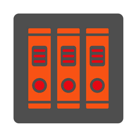 directory book: Office Library vector icon. Style is flat rounded square silver button with red symbol, white background. Illustration