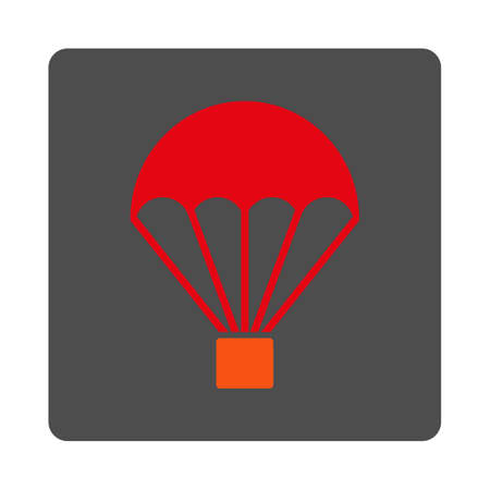 sky dive: Parachute vector icon. Style is flat rounded square silver button with red symbol, white background.