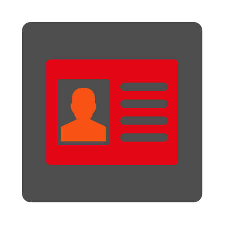Patient Account vector icon. Style is flat rounded square silver button with red symbol, white background.