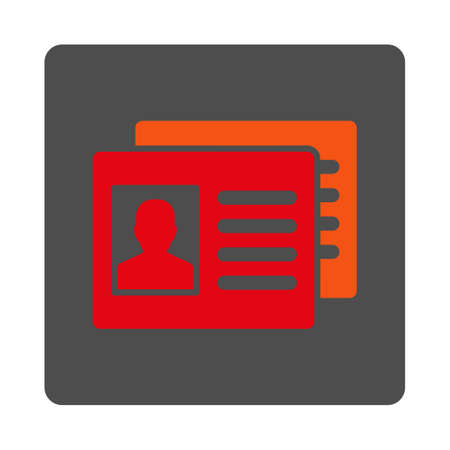 Client Accounts vector icon. Style is flat rounded square silver button with red symbol, white background.