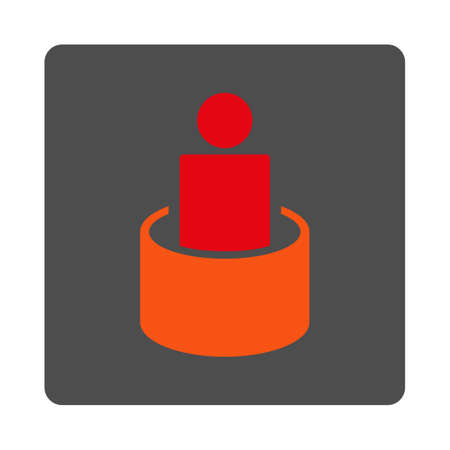 quarantine: Client Isolation vector icon. Style is flat rounded square silver button with red symbol, white background.