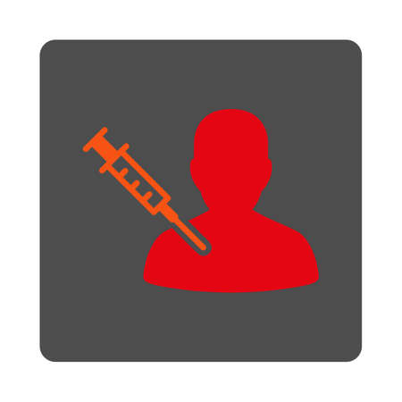 sickness: Sickness Vaccination vector icon. Style is flat rounded square silver button with red symbol, white background.
