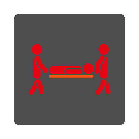 sickness: Sickness Stretcher vector icon. Style is flat rounded square silver button with red symbol, white background.