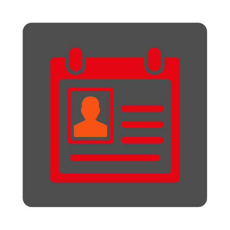 Personal Badge vector icon. Style is flat rounded square silver button with red symbol, white background.