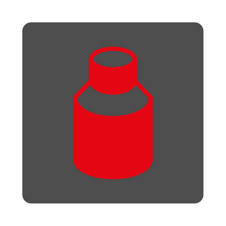 phial: Phial vector icon. Style is flat rounded square silver button with red symbol, white background.