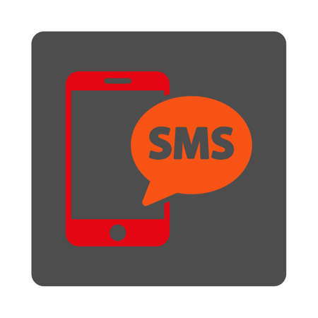 short message service: Phone SMS vector icon. Style is flat rounded square silver button with red symbol, white background.