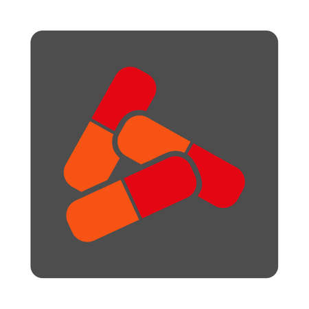 therapie: Pills vector icon. Style is flat rounded square silver button with red symbol, white background.