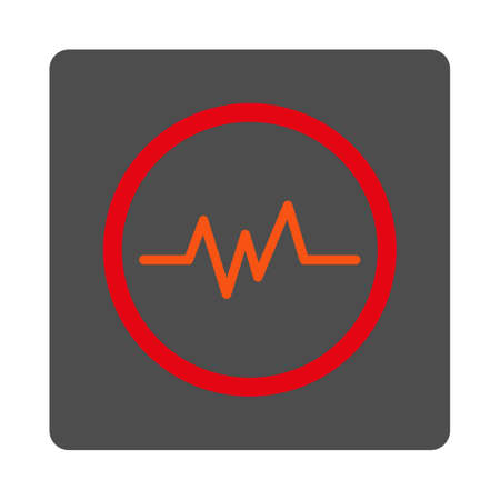 cardiograph: Chart Monitoring vector icon. Style is flat rounded square silver button with red symbol, white background. Illustration