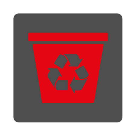 trashcan: Trashcan vector icon. Style is flat rounded square silver button with red symbol, white background.