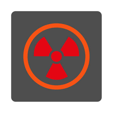 nuclear safety: Radiation Danger vector icon. Style is flat rounded square silver button with red symbol, white background. Illustration