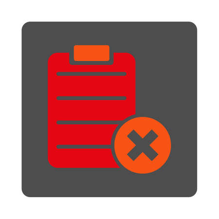 rejection: Reject Form vector icon. Style is flat rounded square silver button with red symbol, white background.