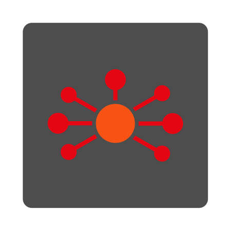 media distribution: Connections vector icon. Style is flat rounded square silver button with red symbol, white background.