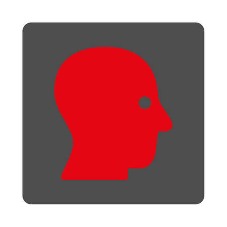 silent: Silent Head vector icon. Style is flat rounded square silver button with red symbol, white background.
