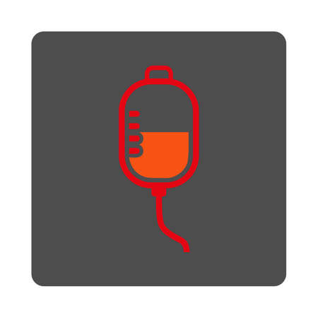 Therapy Dropper vector icon. Style is flat rounded square silver button with red symbol, white background.