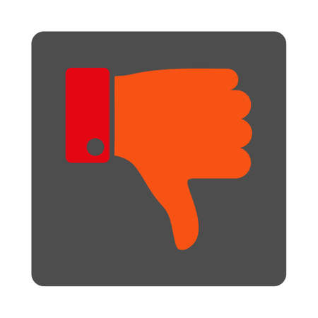 ugly gesture ugly gesture: Thumb Down vector icon. Style is flat rounded square silver button with red symbol, white background.