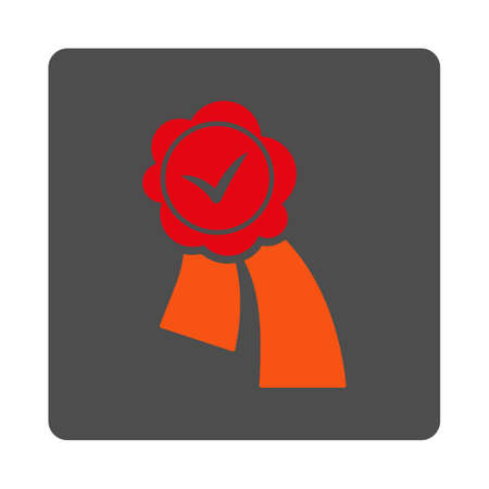 validation: Validation Stamp vector icon. Style is flat rounded square silver button with red symbol, white background.