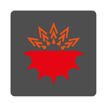 idler: Viral Structure vector icon. Style is flat rounded square silver button with red symbol, white background.