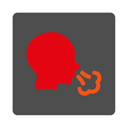 catarrh: Sneezing vector icon. Style is flat rounded square silver button with red symbol, white background. Illustration