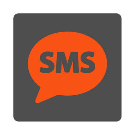 short message service: SMS vector icon. Style is flat rounded square silver button with red symbol, white background.