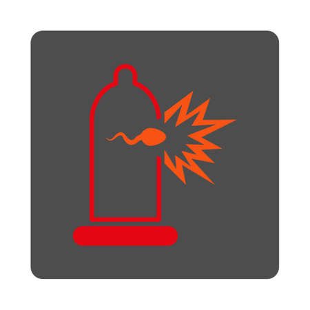 insemination: Sperm Escape vector icon. Style is flat rounded square silver button with red symbol, white background.