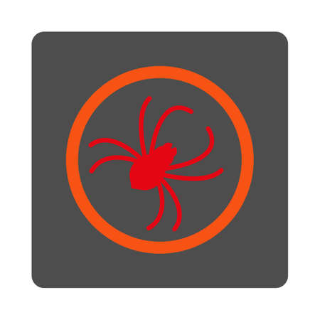 web crawler: Spider vector icon. Style is flat rounded square silver button with red symbol, white background. Illustration