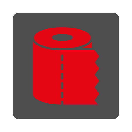water closet: Water Closet Paper Roll vector icon. Style is flat rounded square silver button with red symbol, white background.
