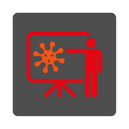 idler: Virus Report vector icon. Style is flat rounded square silver button with red symbol, white background.