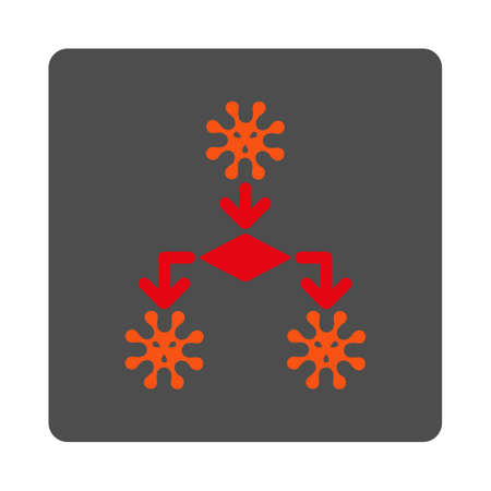 reproduction: Virus Reproduction vector icon. Style is flat rounded square silver button with red symbol, white background.
