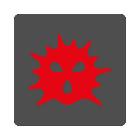 ameba: Microorganism Structure vector icon. Style is flat rounded square silver button with red symbol, white background.