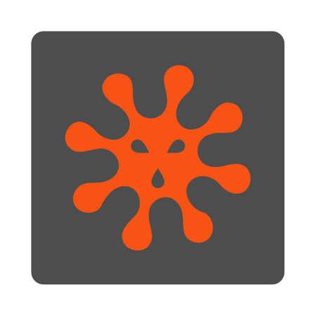 ameba: Icono del vector de virus. El estilo es el botón cuadrado redondeado plana de plata con símbolo rojo, fondo blanco.
