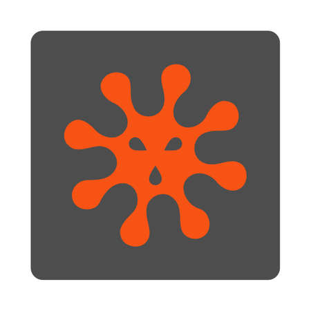 goad: Virus vector icon. Style is flat rounded square silver button with red symbol, white background. Illustration