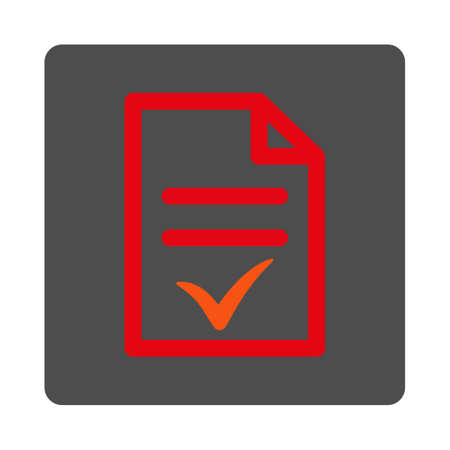 indent: Valid Document vector icon. Style is flat rounded square silver button with red symbol, white background.