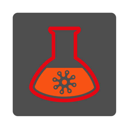 ameba: Infection Test vector icon. Style is flat rounded square silver button with red symbol, white background. Illustration