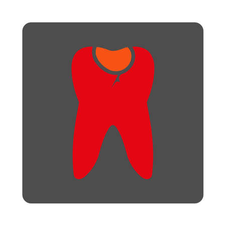 carious: Tooth Caries vector icon. Style is flat rounded square silver button with red symbol, white background.