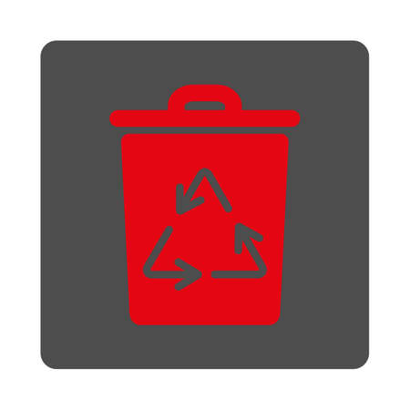 discard: Trash Can vector icon. Style is flat rounded square silver button with red symbol, white background.