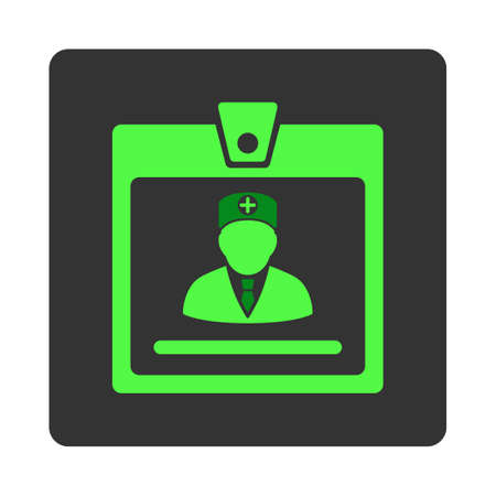 dark gray: Doctor Badge vector icon. Style is flat rounded square dark gray button, green symbol, white background.