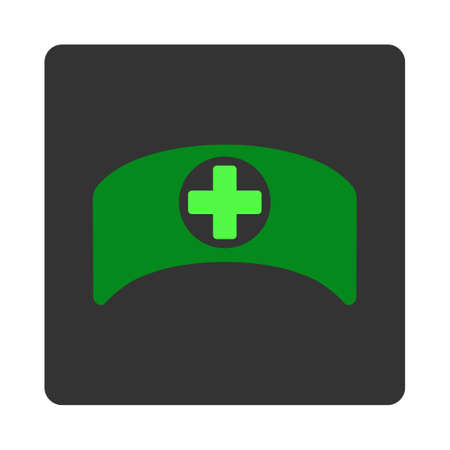 dark gray: Doctor Cap vector icon. Style is flat rounded square dark gray button, green symbol, white background.