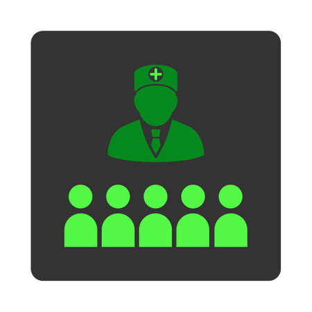 lecture hall: Doctor Class vector icon. Style is flat rounded square dark gray button, green symbol, white background. Illustration