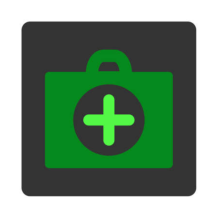 dark gray: First Aid vector icon. Style is flat rounded square dark gray button, green symbol, white background. Illustration